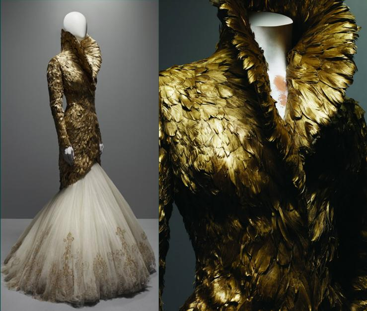 savage-beauty-alexander-mcqueen-gold-feathers-dress